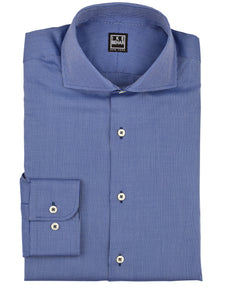 Indigo Blue Panama Texture Weave Dress Shirt