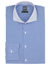 Blue Check-on-Check Contrast Collar Dress Shirt