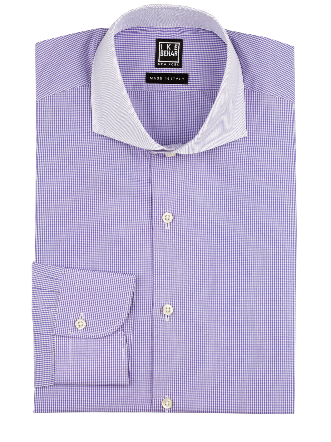 Purple Check-on-Check Contrast Collar Dress Shirt