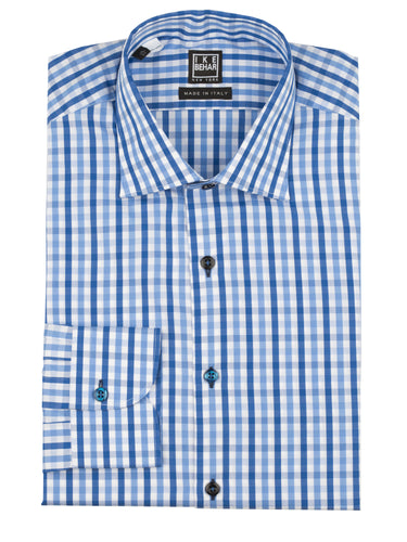 Bold Blue Check Dress Shirt