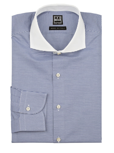 Horizontal Stripe White Collar Dress Shirt