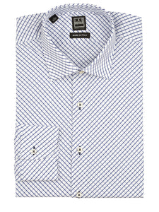 Navy Diagonal Check Dress Shirt