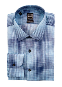 Blue on Blue Ombre Plaid Linen Sport Shirt