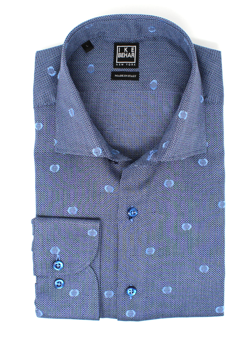 Navy with Sky Polka Dot Sport Shirt