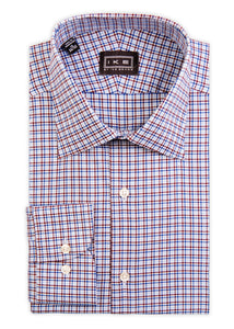 Blue and Maroon Check Ike by Ike Behar Dress Shirt