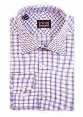 Pink and Blue Check Ike by Ike Behar Dress Shirt