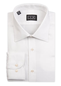 White Mini-Pique Ike by Ike Behar Dress Shirt