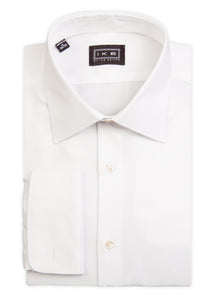 White Mini-Pique French Cuff Ike by Ike Behar Dress Shirt