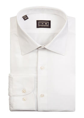 White on White Herringbone Ike by Ike Behar Dress Shirt