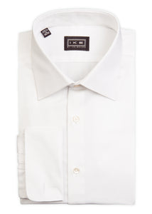 White on White Herringbone French Cuff Ike by Ike Behar Dress Shirt