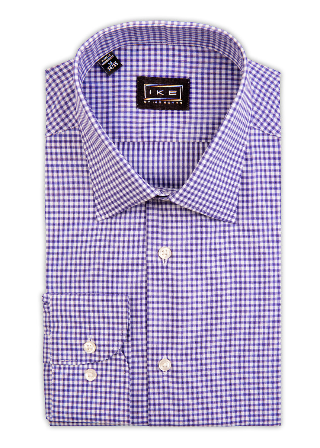 Purple Mini-Check Ike by Ike Behar Dress Shirt