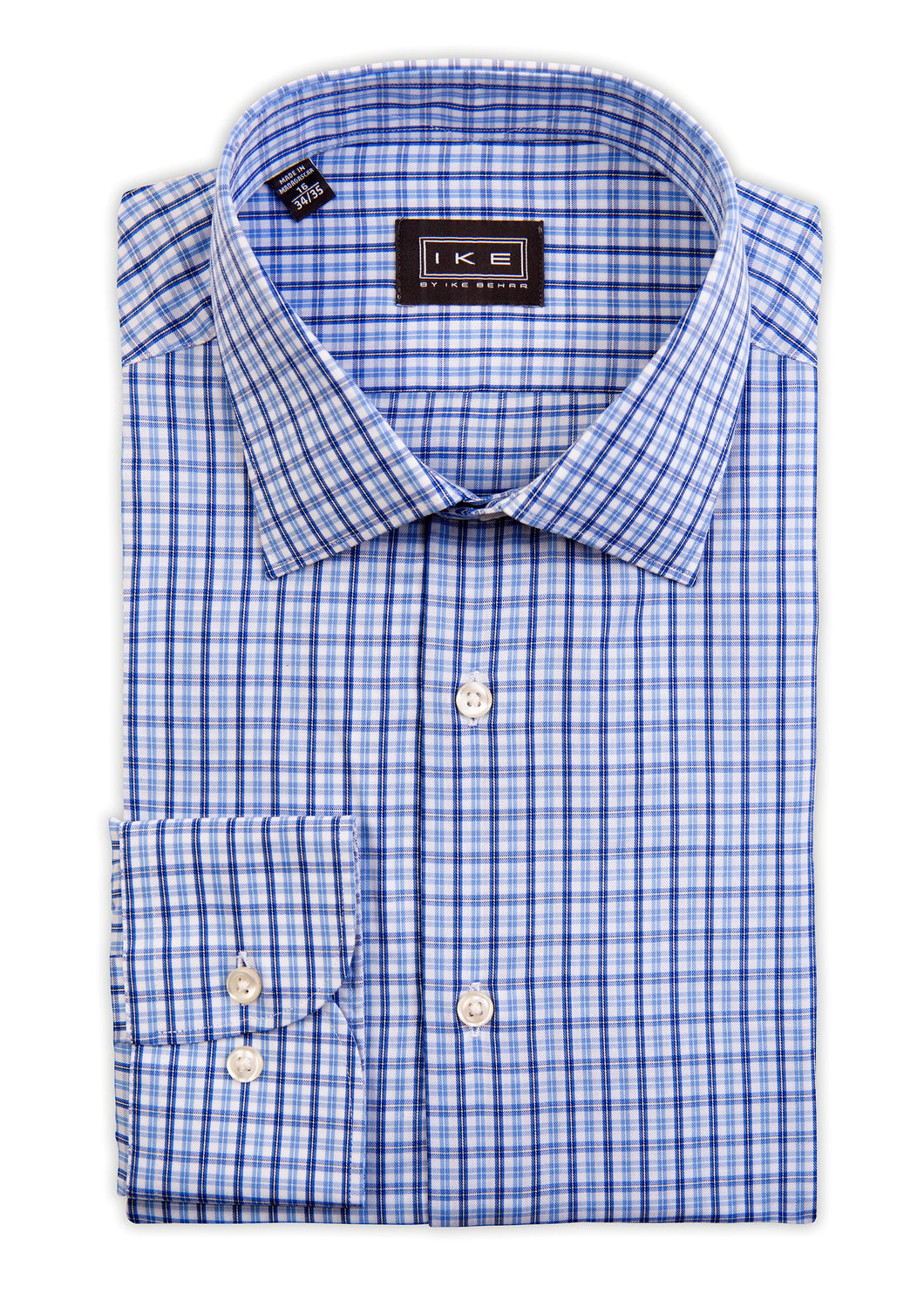 Blue on Blue Multi-Check Ike by Ike Behar Dress Shirt
