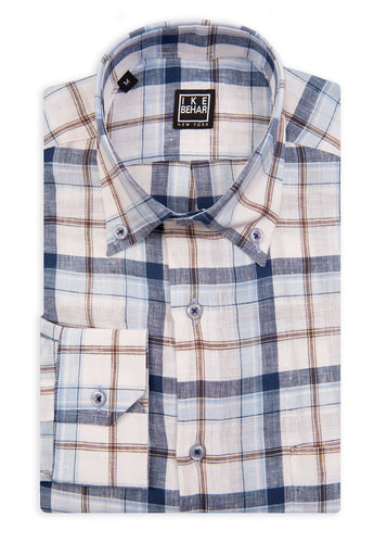 Blue and Brown Check Linen Sport Shirt