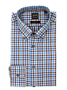 Sky & Chocolate Multi-Check Button-Down Sport Shirt