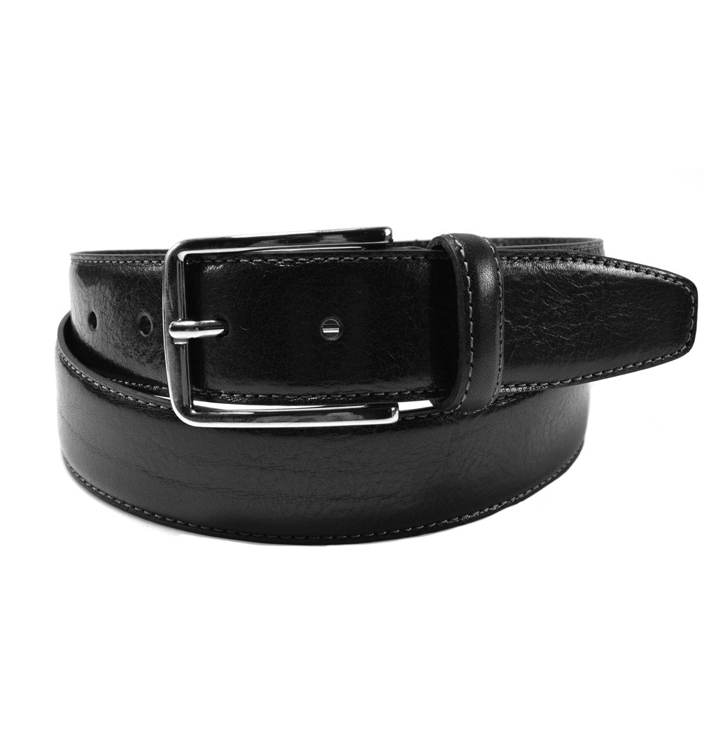 the continental collection by ike behar nickel buckle belt black inspired by john wick