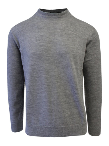 Grey Merino Wool Crew Neck Sweater