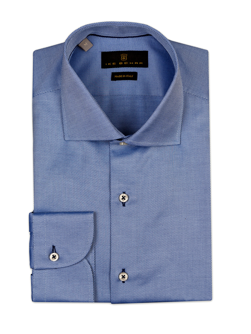 Sky Blue with Navy Micro-Dot Sport Shirt