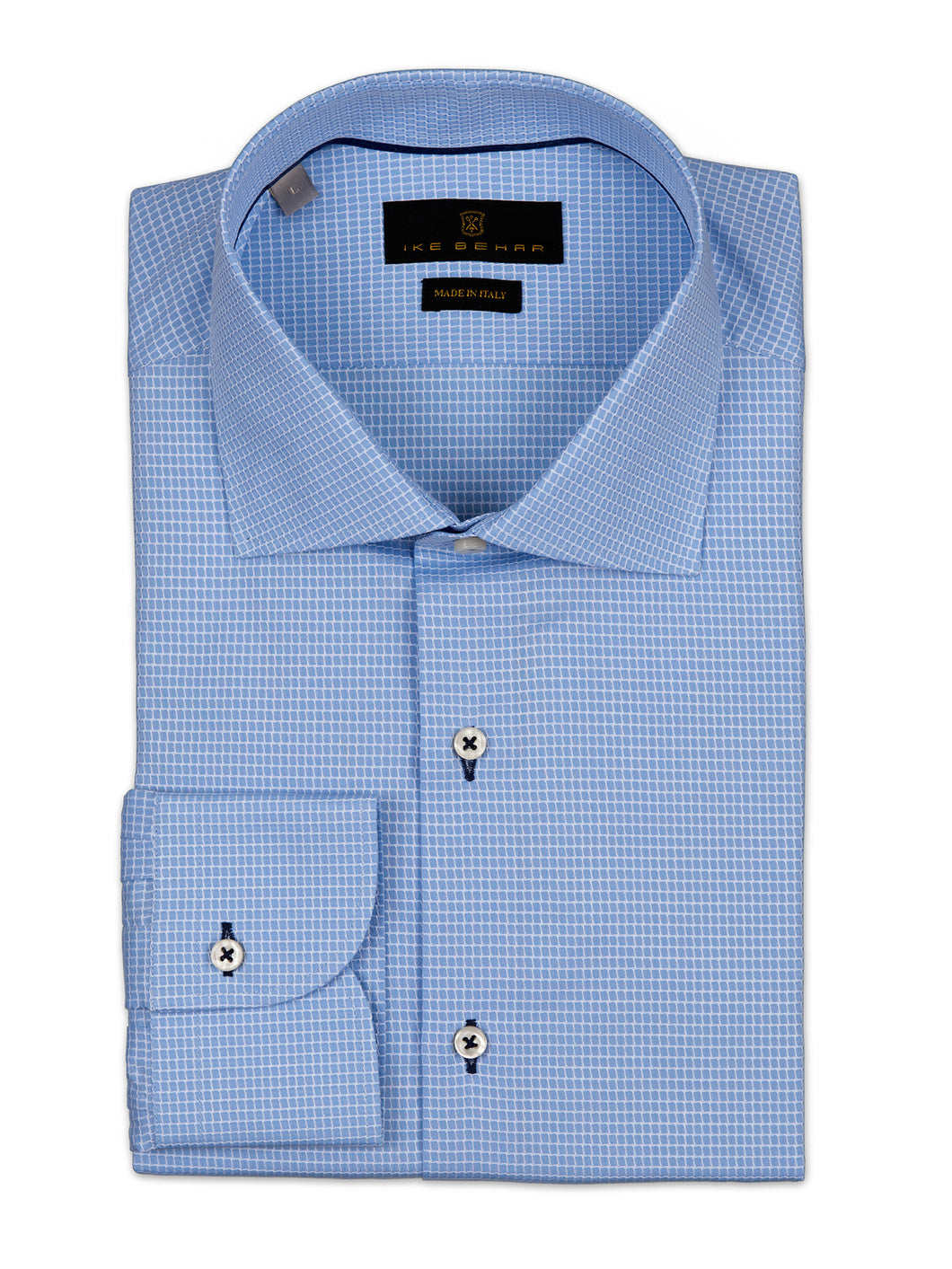 Sky Blue Textured Graphic Check Sport Shirt