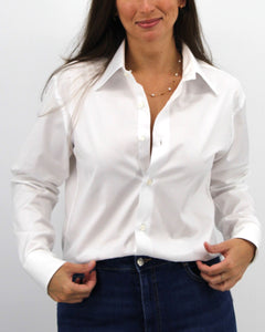 Ladies' White on White Striped Shirt