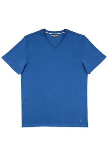 Washed Blue Pima V-Neck T-Shirt