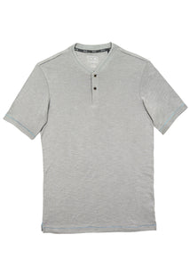 Grey Ribbed Neck Henley