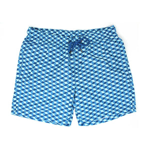 Blue Optical Cube Swim Shorts