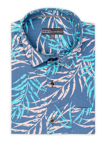 Midnight Leaf Print Short Sleeve Shirt