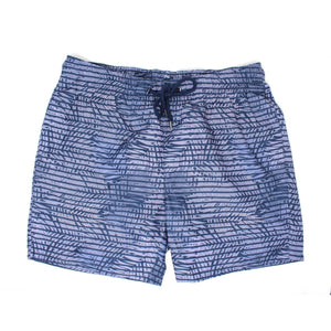 Lavender Striped Palm Print Swim Shorts