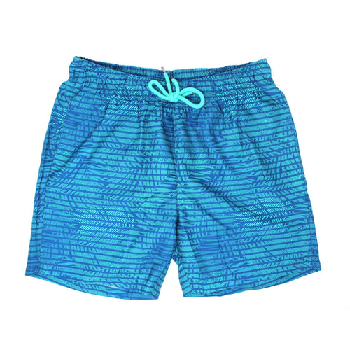 Green Striped Palm Swim Shorts