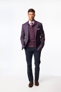 Maroon with Blue Window Pane Sport Coat