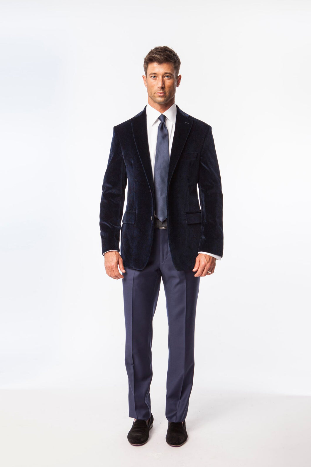 Navy Paisly Velvet Evening Jacket