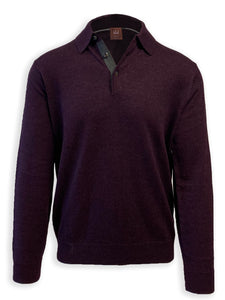 Wineberry Merino Wool Polo Sweater