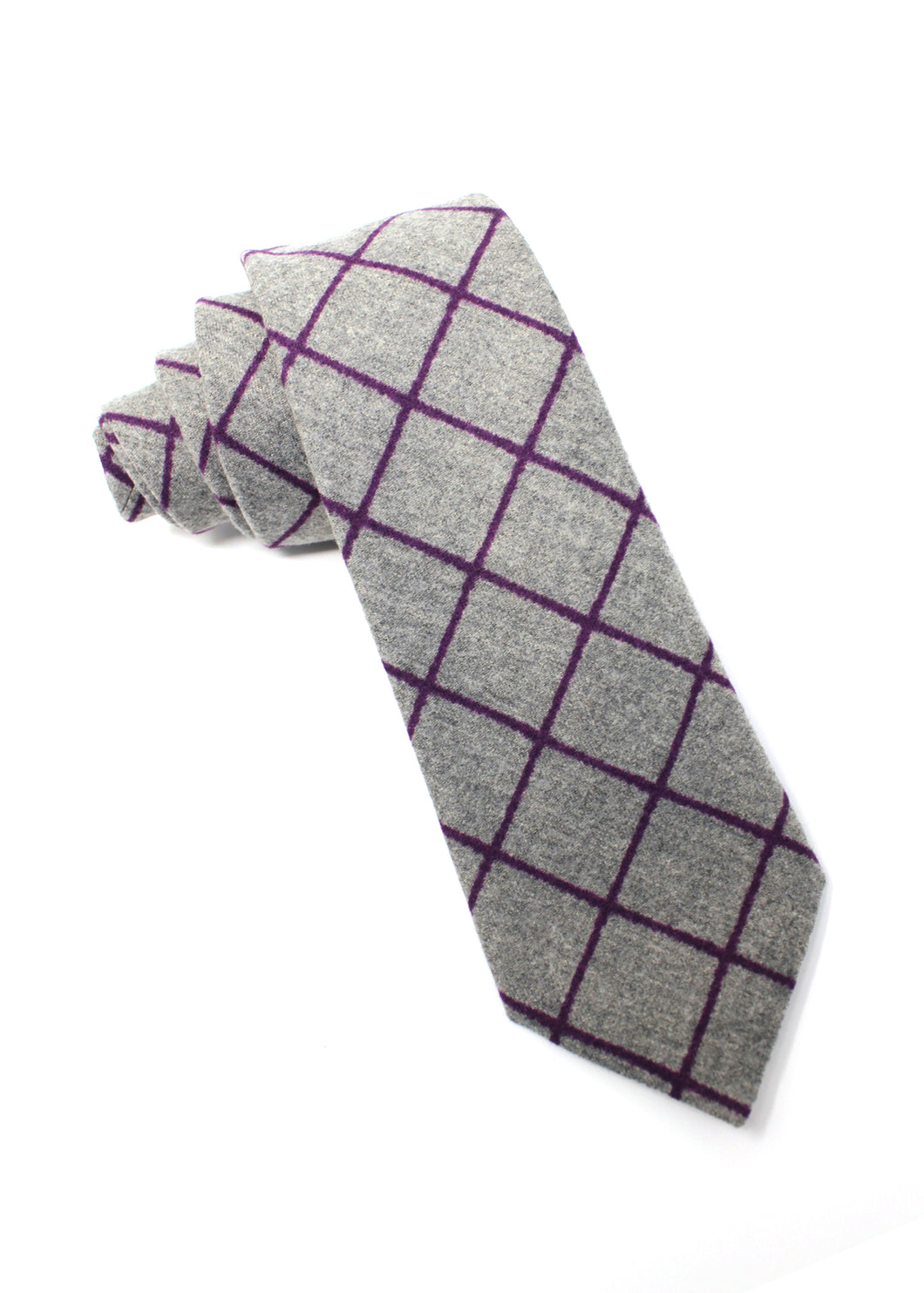 Grey Flannel Tie with Magenta Window-Pane