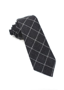 Charcoal Flannel Tie with Chalk Stripe Window-Pane