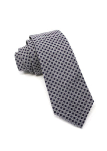Grey Flannel Tie with Dot Print
