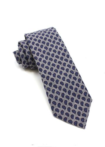 Grey Flannel Tie with Paisley Print