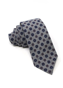 Grey Flannel Tie with Follard Print