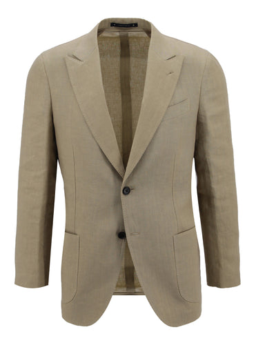 Tan Linen Peak Lapel Sport Coat