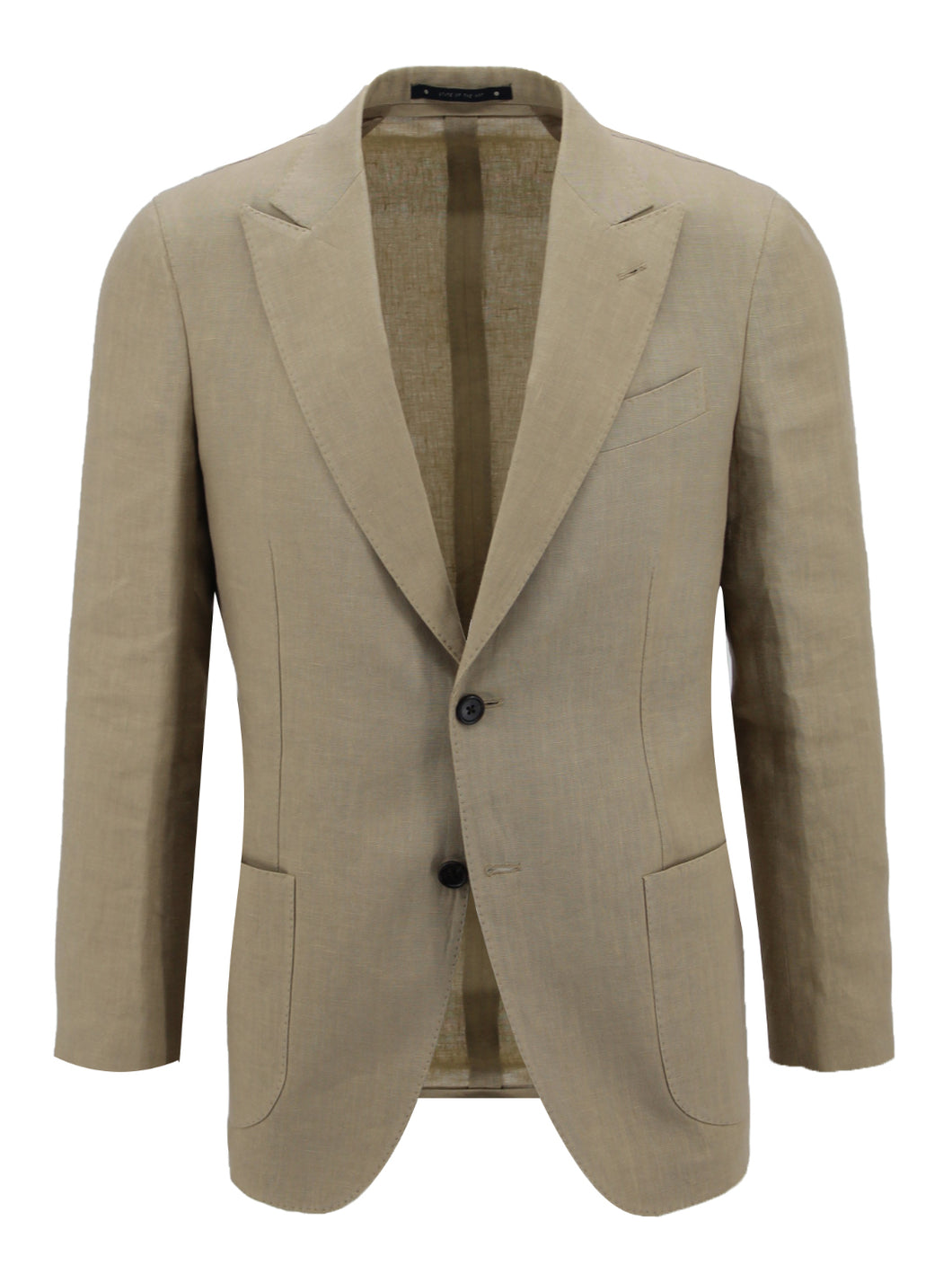 Tan Linen Peak Lapel Suit