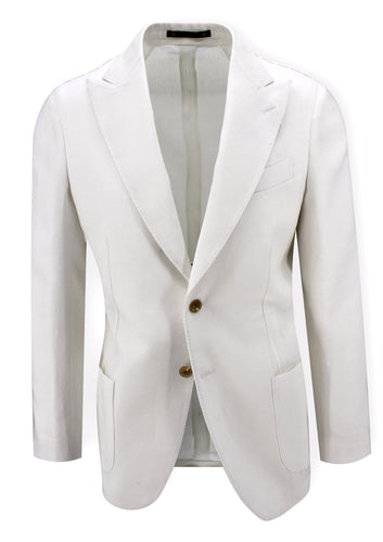 White Linen Peak Lapel Sport Coat