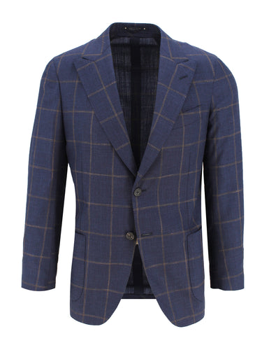 Navy and Rust Window Pane Sport Coat