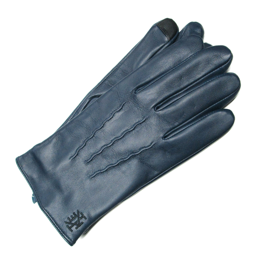 Navy Leather Gloves with Lambswool Lining