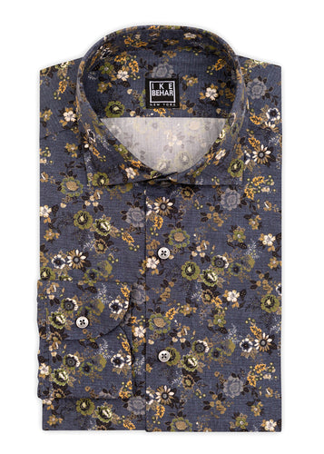 Slate Ground Olive Multi-Floral Sport Shirt