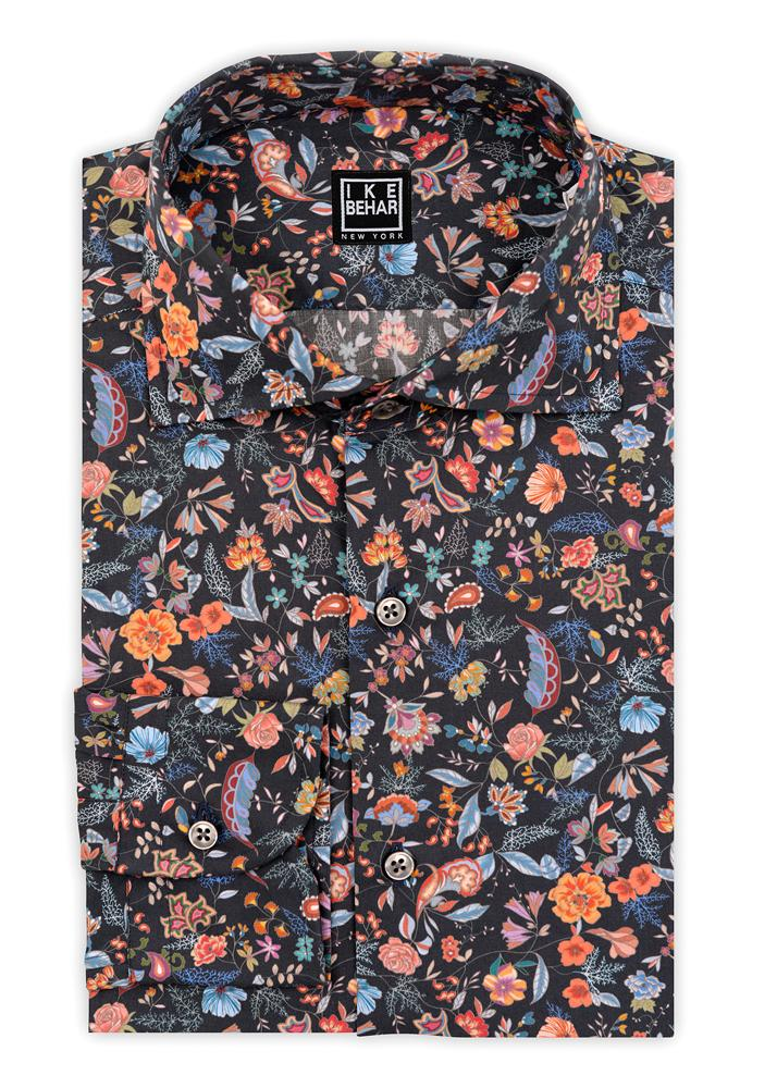 Navy Ground Multi-Floral Sport Shirt