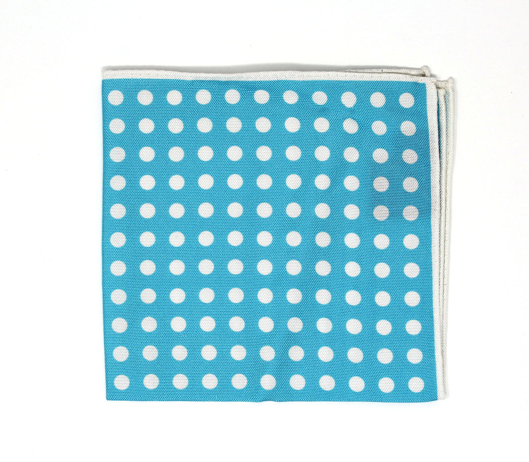 Foam Blue Dot Pocket Square