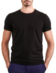 Black Stretch Pima Crew Neck Tee