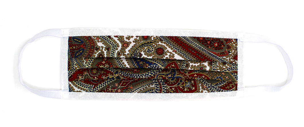 Burgandy Multi-Paisley Print Face Mask