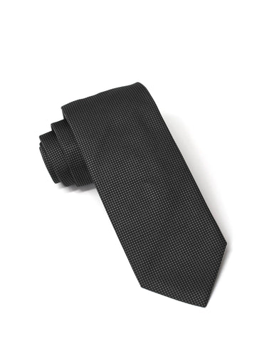 Charcoal Silk Square Weave Tie