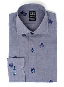 Blue Check with Embroidered Leaf Print