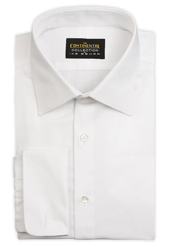 Continental White Herringbone Dress Shirt - French Cuff